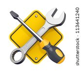 spanner and screwdriver. tools... | Shutterstock . vector #113641240