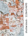 the wall made of red bricks and ...   Shutterstock . vector #1136414690