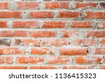 the wall made of red bricks and ...   Shutterstock . vector #1136415323