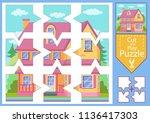 children puzzle game.... | Shutterstock .eps vector #1136417303
