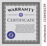 grey retro vintage warranty... | Shutterstock .eps vector #1136426159