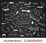 hand drawn arrows big set.... | Shutterstock . vector #1136434010