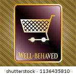 gold badge or emblem with... | Shutterstock .eps vector #1136435810