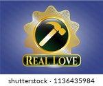 golden badge with hammer icon... | Shutterstock .eps vector #1136435984