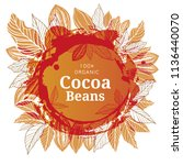cacao beans plant  vector... | Shutterstock .eps vector #1136440070