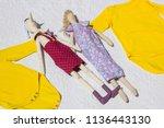baby yellow bodysuit  baby... | Shutterstock . vector #1136443130
