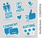 set social media stickers with... | Shutterstock .eps vector #113645416