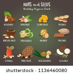 set of nut food grains and... | Shutterstock .eps vector #1136460080