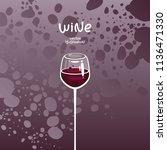 glass of red wine on gradient...   Shutterstock .eps vector #1136471330