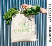 "ecobag with inscription ""go... | Shutterstock . vector #1136477573"