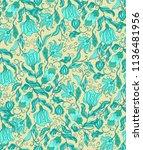 seamless  vector floral... | Shutterstock .eps vector #1136481956