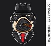pug head cartoon mafia | Shutterstock .eps vector #1136490800