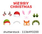 new year's masks for photos.... | Shutterstock .eps vector #1136493200