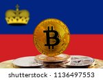 bitcoin btc on stack of...   Shutterstock . vector #1136497553