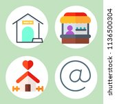 simple 4 icon set of family... | Shutterstock .eps vector #1136500304
