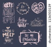 set of vector hand drawn love... | Shutterstock .eps vector #1136503139