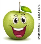 illustration of a happy apple...