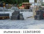 stack of gray paving slabs....   Shutterstock . vector #1136518430