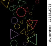 geometric memphis background.... | Shutterstock .eps vector #1136518736