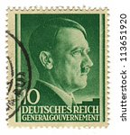 Small photo of GERMANY - CIRCA 1943: A stamp printed in Germany shows image of Adolf Hitler was an Austrian-born German politician and the leader of the Nazi Party, in green, circa 1943.