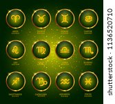 horoscope with dates. zodiac... | Shutterstock .eps vector #1136520710