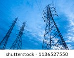 electricity transmission power... | Shutterstock . vector #1136527550