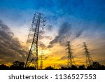 electricity transmission power... | Shutterstock . vector #1136527553
