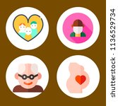 simple 4 icon set of family... | Shutterstock .eps vector #1136529734