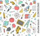 colorful back to school doodle... | Shutterstock .eps vector #1136531360