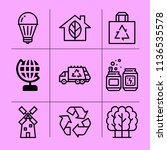 simple 9 icon set of ecology... | Shutterstock .eps vector #1136535578