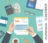 tax payment concept. state... | Shutterstock .eps vector #1136538929