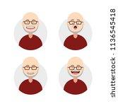flat bald old elder man male... | Shutterstock .eps vector #1136545418