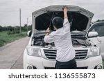handsome young man with broken...   Shutterstock . vector #1136555873