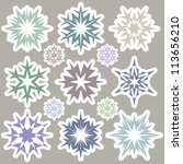 set of snowflakes | Shutterstock .eps vector #113656210