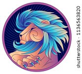 leo zodiac sign  horoscope... | Shutterstock .eps vector #1136563820
