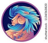 leo zodiac sign  horoscope... | Shutterstock .eps vector #1136563820