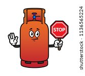 cartoon gas cylinder character... | Shutterstock .eps vector #1136565224