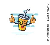 cup character two thumbs style... | Shutterstock .eps vector #1136570240