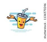 cup character open hands style  ... | Shutterstock .eps vector #1136570246