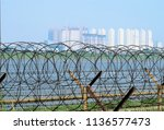 han river wire entanglements...   Shutterstock . vector #1136577473