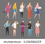 various stylish woman fashion.... | Shutterstock .eps vector #1136586329