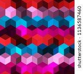 hexagon grid seamless vector... | Shutterstock .eps vector #1136587460