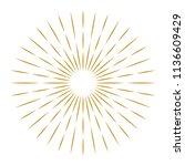 golden vintage sunburst design... | Shutterstock .eps vector #1136609429