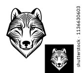 dog or wolf head logo or icon... | Shutterstock .eps vector #1136630603