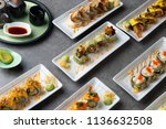 various sushi roll shot   Shutterstock . vector #1136632508