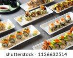 various sushi roll shot   Shutterstock . vector #1136632514