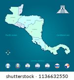 map of central america with... | Shutterstock .eps vector #1136632550
