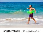 happy bearded hipster in... | Shutterstock . vector #1136632613