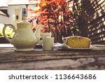 a summer morning tea in the... | Shutterstock . vector #1136643686
