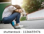 panic attacks young girl in sad ... | Shutterstock . vector #1136655476